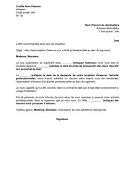 exemple gratuit de lettre refus autorisation exercer