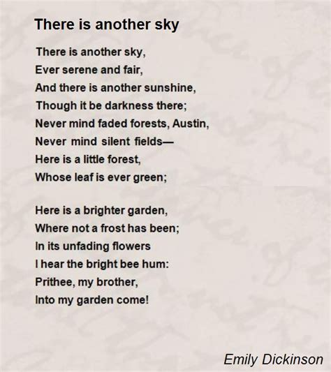 emily dickinson biography poem hunter there is another sky poem by emily dickinson poem hunter