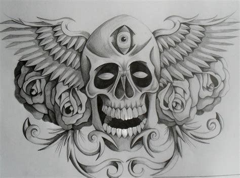 skull with wings tattoo designs flowers and winged skull design