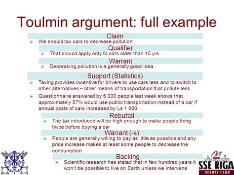 Toulmin Essay Exle by Argumentative Essay Toulmin Method
