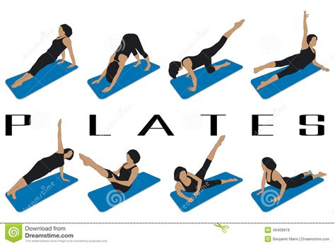 for free pilates stock vector illustration of eight silhouettes