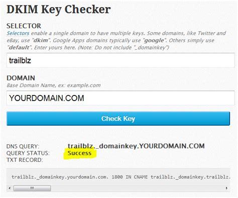 trail blazer adding  dkim key   domains txt record