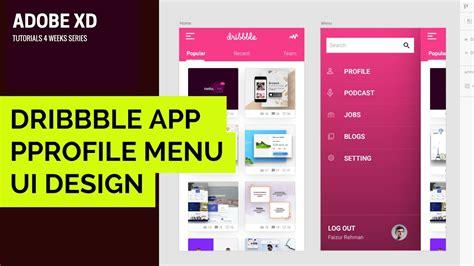 design menu tutorial adobe xd tutorial 004 how to make dribbble app menu ux