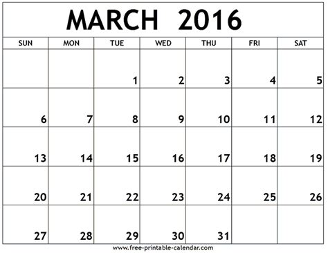 2016 March Month Calendar Printable Printable Calendar | march 2016 calendar