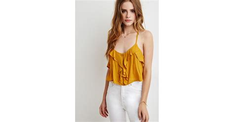 Forever21 Mustard Crop forever 21 ruffle cropped cami top in brown mustard lyst
