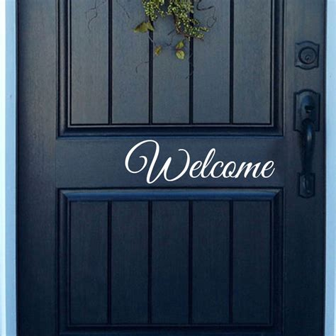welcome decal for front door welcome vinyl front door decal front door vinyl door