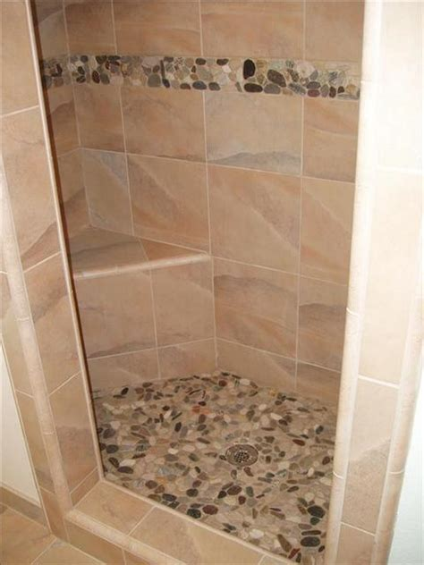 riverstone tile bathroom river stone shower floor and accent build that