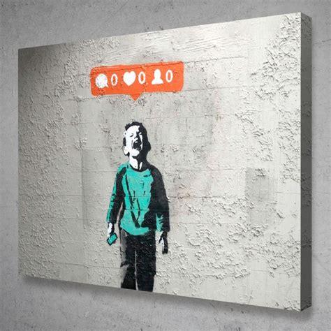 banksy  followers crying social media canvas graffiti