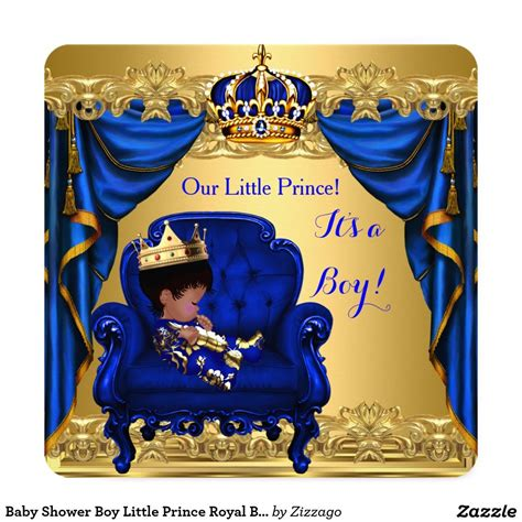 Baby Shower Prince by Baby Shower Boy Prince Royal Blue Golden Card