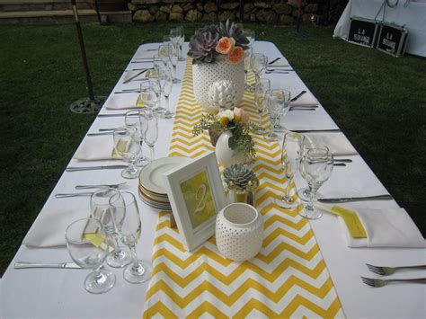 yellow and white chevron table runner