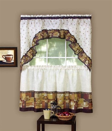 Swag Curtains For Kitchen Espresso Coffee Window Curtain Set Kitchen Swag 36 Quot Tiers