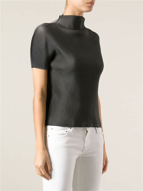 Miyake Top lyst pleats issey miyake funnel neck top in green