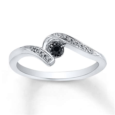 promise ring 1 6 ct tw black white sterling