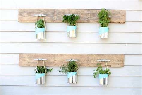 homemade planters diy paint can herb garden simple stylings