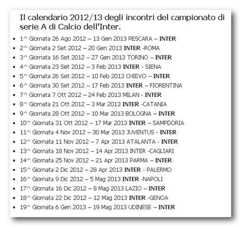 Calendario Cionato Serie A Inter Calendario Calcio Serie A 2012 13 Pdf