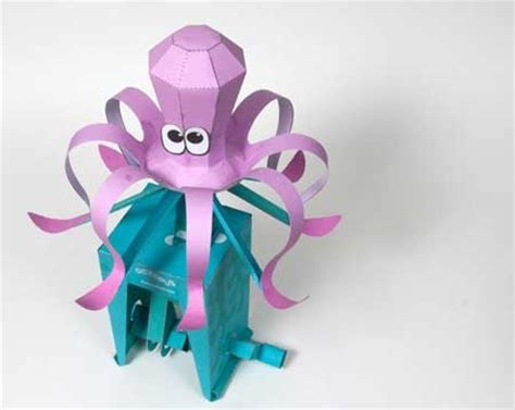 Octopus Papercraft - moving octopus papercraft paperkraft net free
