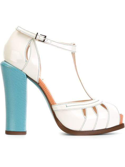 chunky heel sandals fendi chunky heel sandals in blue white lyst