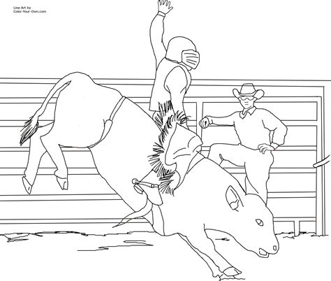 Free Bull Rodeo Coloring Pages Rodeo Coloring Pages