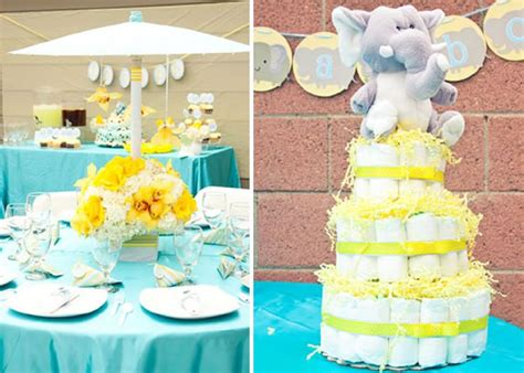 Blue And Yellow Baby Shower by How To Unisex Baby Shower Decorations Blogbeen
