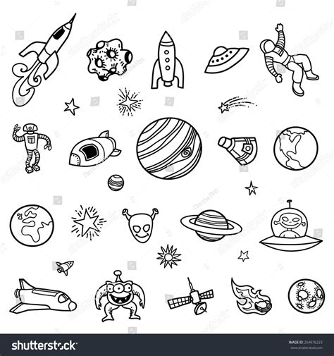 libro doodles in outer space hand drawn outer space doodles stock vector 254976223 shutterstock