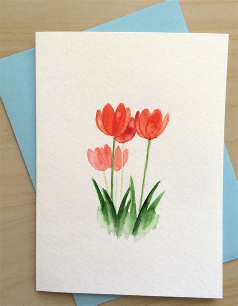 Card Painted sale painted card tulips card original watercolor