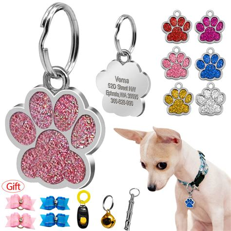 Brego Split Pet Gliter glitter paw print custom pet tags disc engraved cat id tags with free gift ebay