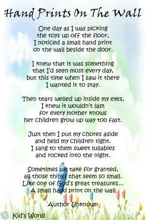hand prints poem   wall  pinterest