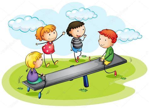 imagenes de niños jugando en un columpio ni 241 os jugando subibaja en el parque archivo im 225 genes
