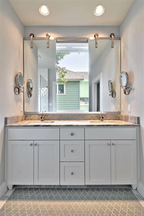 vanity mirror ideas Bathroom Transitional with are rug barn door beeyoutifullife.com