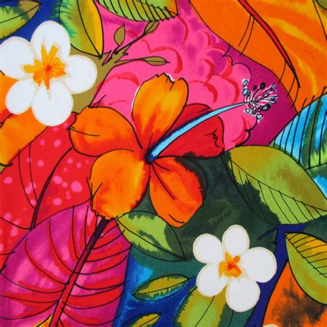alexander henry upholstery fabric fabric bebel in multi brights tropical hibiscus hawaiian