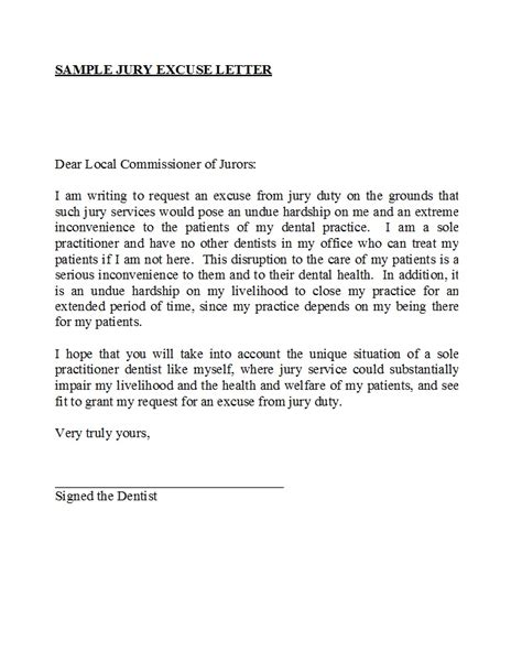 Jury Excuse Letter
