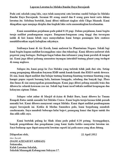 format berita pt3 karangan laporan lawatan ke melaka bandar raya bersejarah