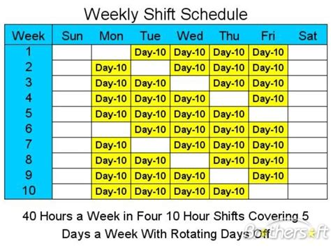 10 hour shift templates free 10 hour schedules for 5 days a week 10 hour