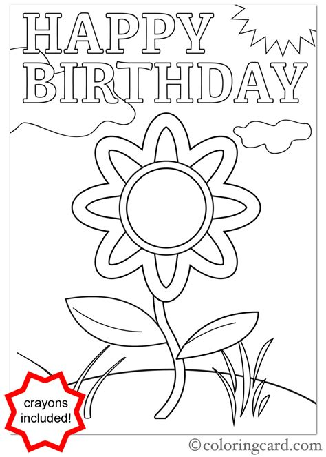 happy flower coloring page birthday coloring card flower coloring card