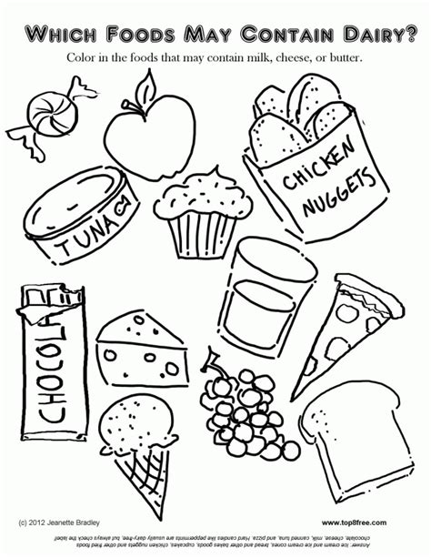 dairy foods coloring page food fun coloring activities for