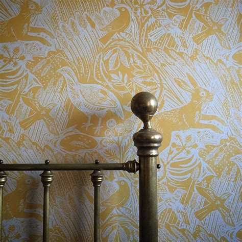"""A bedroom in York featuring Mark Hearld's """"Harvest Hare"""