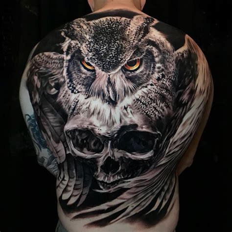 owl amp skull back tattoo best tattoo design ideas