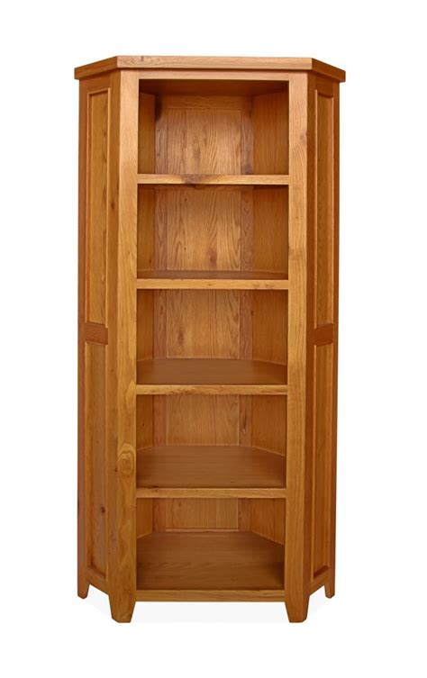 Corner Oak Bookcase Canterbury 5 Tier Corner Bookcase
