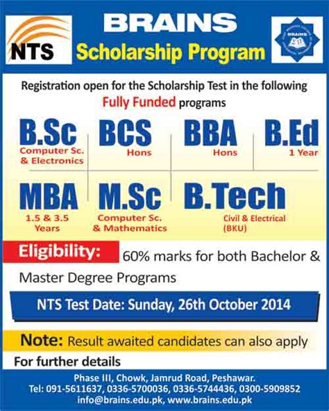 Can A Bsc Graduate Do Mba by Brains Scholarship Program Peshawar Nts Registration