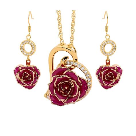 rose themed jewelry purple matched set in 24k gold heart theme glazed rose