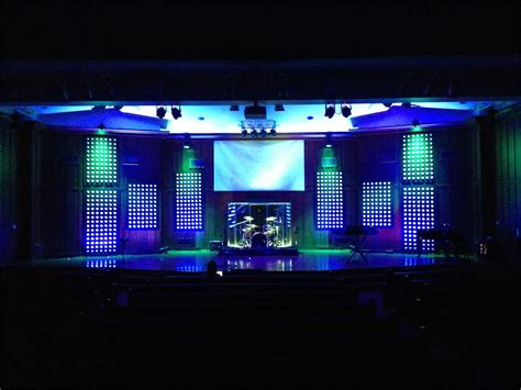 themes for set design dot panels church stage design ideas