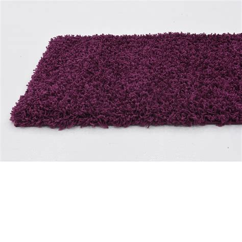 Purple Shaggy Contemporary Rug Soft Warm Modern Plain Modern Purple Rug