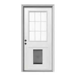Exterior Door With Doggie Door Jeld Wen Door 9 Lite Primed White Steel Entry Door With Large Pet Do
