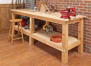 workshop work bench heavy duty plank workbench woodsmith plans