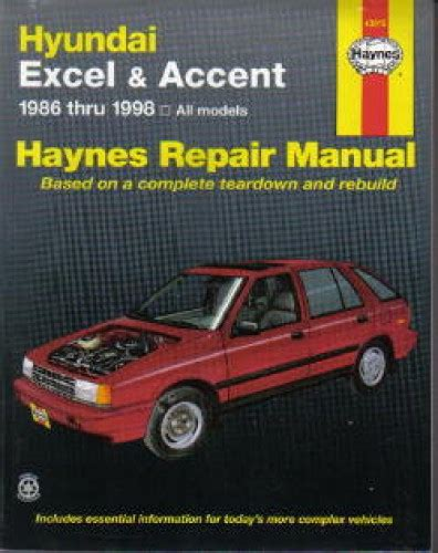 car repair manuals online free 1992 hyundai excel parking system haynes hyundai excel accent 1986 1998 auto repair service manual