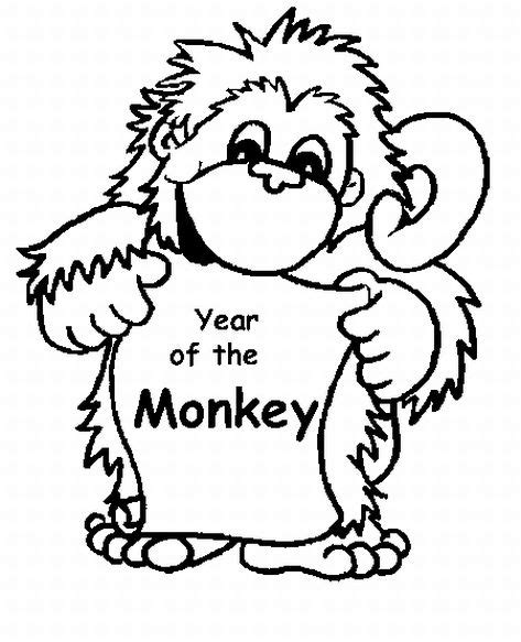 new year monkey coloring baby monkey coloring pages