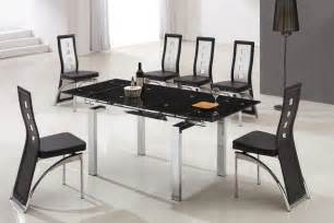 Designer Glass Dining Tables Designer Extended Tempered Glass Dining Table With 6 Black And White Chairs
