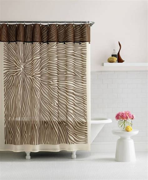 bathroom   shower curtain creamy  brown patterned