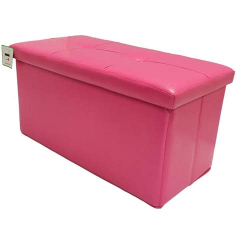 Pink Storage Ottoman Folding Pink Ottoman Storage Chest Bedding Box Faux Leather Bedroom Ebay