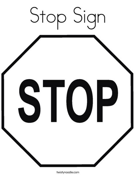 Stop Sign Coloring Page Twisty Noodle Stop Sign Coloring Pages